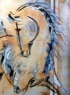 Pas de Deux Horse Painting by Donna Bernstein Abstract Portrait Painting, Portrait Paintings, Painting Art, Abstract Art, Animal Art Projects, Horse Artwork, Watercolor Horse, Tinta China, Animal Paintings