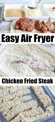 Air fryer chicken fried steak is a yummy comfort food that's great for dinner or an appetizer. Crunchy finger food that's tender inside and a gravy dip! Air Fryer Recipes Wings, Air Fryer Oven Recipes, Air Fryer Dinner Recipes, Air Fryer Wings, Recipes Dinner, Chicken Fried Steak, Air Fryer Fried Chicken, Air Fryer Chicken Tenders, Baked Chicken