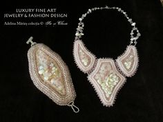 haute couture fashion beading embroidery ewelry necklace and bracelet. Romania design Sic si Clasic by Adelina Maries colectia aristocrat cuartz roz http://sicsiclasic.wordpress.com