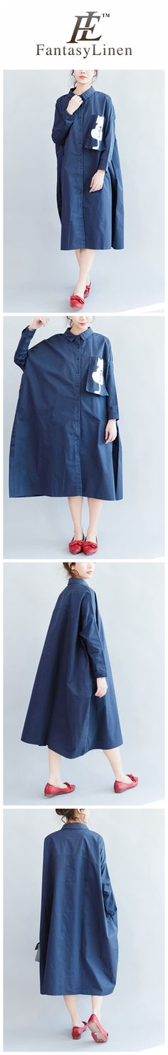Cat Blue Long Loose Casual Cotton Shirt Dress Women Clothes