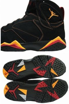 separation shoes 8aeed 8d3a7 Air Jordan 7 (VII) Retro - Black   Citrus - Varsity Red Jordan 7