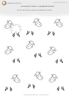 Kindergarten activity GS graphics Buckles upside down – Draw the sheep's coat using the looping gesture to the reverse. PDF Large Section Sheet. Kindergarten Lesson Plans, Kindergarten Activities, Web Animal, Maternelle Grande Section, Activities For 2 Year Olds, Farm Theme, Writing Skills, Spring Crafts, Worksheets