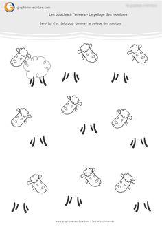 Activité Maternelle Graphisme GS Boucles à l'envers - Dessiner le pelage des moutons en utilisant les geste de la boucle à l'envers. PDF Fiche Grande Section.
