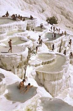 carbonate mineral terraces of Pammukale, Turkey