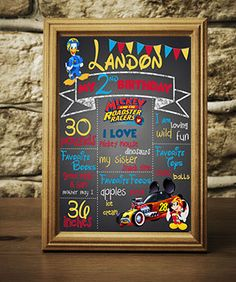 Digital Mickey Roadster Racers Chalkboard Sign Birthday Party Customizable