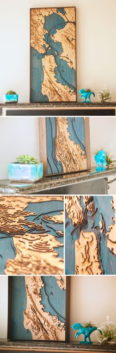 Pair a Peaks custom topographic map with succulents and planters from CB2 for a bright, unique touch to your home decor.