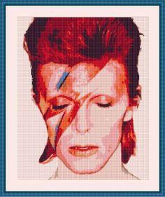 OMG I need this: Aladdin Sane Cross Stitch Pattern // David Bowie