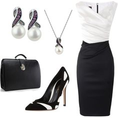 A fashion look from January 2014 featuring black and silver dresses, black high heel shoes y cultured pearl pendant necklace. Browse and shop related looks.