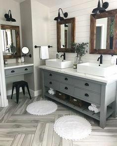 Modern Farmhouse Master Bath Renovation - Obsessed with our vanity spaces! Modern Farmhouse Master Bath Renovation - Obsessed with our vanity spaces! Bathroom Renos, Bathroom Flooring, Bathroom Renovations, Bathroom Interior, Modern Bathroom, Remodel Bathroom, Bathroom Cabinets, Dyi Bathroom, Bathroom Mirrors