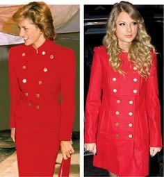 Aqui está Taylor Swift em 2009 imitando um look que a Princesa Diana usou em 1989.