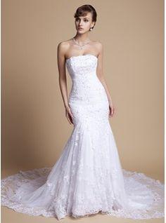 Robes de mariée Sirene Sans bretelles Traîne Chapelle Satin  Tulle Robes de Mariée avec Ondulé  Dentelle  Perlé (002000375)