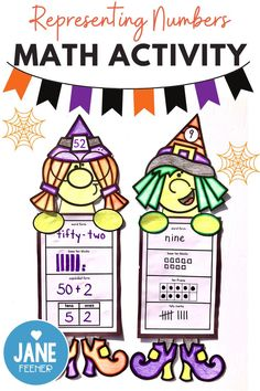Teachers, are you looking for an engaging math activity for first and second grade students that teaches them how to represent numbers in different ways? This fun Halloween Witch math activity might be just right for you. It is easy to differentiate for your students! Just print the pages you wish to use and then students pick their number and represent it in different ways. They assemble their witch and as a bonus you have a great Halloween bulletin board display! Halloween Math, Halloween Activities, Math Activities, Halloween Bulletin Boards, Base Ten Blocks, Tally Marks, Tens And Ones, Bulletin Board Display, Primary Maths