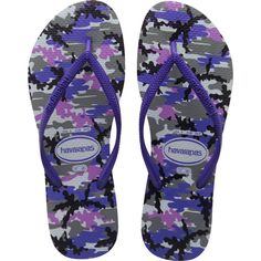 Havaianas Slim Camuflada (92 BRL) ❤ liked on Polyvore featuring shoes, sandals, flip flops, ice grey, women, gray sandals, havaianas flip flops, camouflage sandals, camo flip flops and grey flip flops