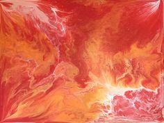 acrylic liquid pour artwork - 11 x 14 - dark pink, orange, white