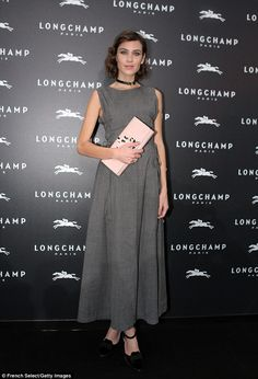 Grey day:Alexa Chung was invited to Longchamp's Lights On boutique store launch on Thursd...
