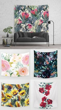 Shop FLORAL tapestries from Society6. TONS of designs to choose from, all designed by independent artists and printed on demand.