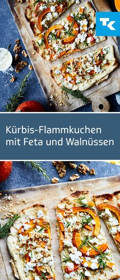 Our pumpkin tarte flambee with feta and walnuts is not only tasty . - Our pumpkin tarte flambé with feta and walnuts is not only a hit in terms of taste, but also conta - Healthy Diet Recipes, Vegan Breakfast Recipes, Healthy Smoothies, Pancake Healthy, Best Pancake Recipe, Food Blogs, Kitchen Recipes, Cooking Recipes, Queso Feta
