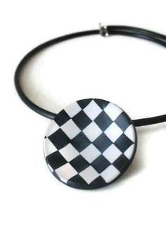 checkered necklace black and white polymer by PeekABooCornerShop, $25.00