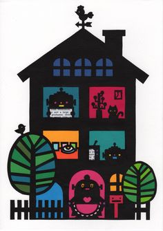 Robot house  Papercutting art Paper Cutting, Kids Rugs, Holiday Decor, Gallery, Crafts, Robot, Illustrations, Design, House