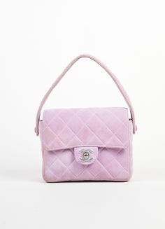 Lavender Purple Chanel Suede Quilted Turn Lock Mini Flap Purse Bag