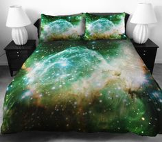 Why bother traveling light years to see the far regions of space when you can enjoy it from the comforts of your own bed? Etsy store 'CBedroom'