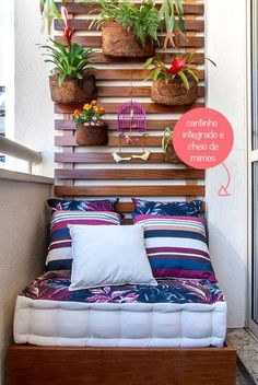Apartment Patio Decor Tiny Balcony Home 42 Ideas Small Balcony Design, Tiny Balcony, Small Patio, Balcony Ideas, Patio Ideas, Small Balconies, Garden Ideas, Balcony Bench, Small Balcony Decor