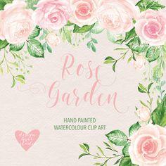 Watercolour rose garden cliparts by designloverstudio on @creativemarket