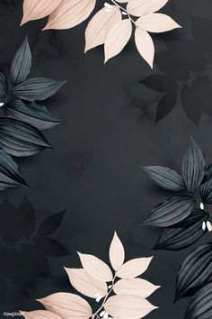 Foliage pattern black background vector premium image by wan Black Background Wallpaper, Cute Wallpaper Backgrounds, Pretty Wallpapers, Colorful Wallpaper, Aesthetic Iphone Wallpaper, Black Backgrounds, Beige Background, Ipad Background, Luxury Background