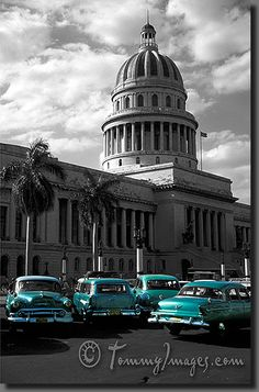 Classic cars sit out front of El Capitolio  Keywords: Stock Photo Picture Latin America Caribbean Classic American Cars Classic Cars Old Car Habana Havana La Habana Cuba Antique Car Vintage Car Capitolio Ciudad de la Habana Cuban Classic Automobiles Vintage Autos Tourist Attractions El Capitolio Capitolio Nacional Green Cars National Capitol Building Black and White B&W Yank Tanks Máquinas Maquinas Vertical