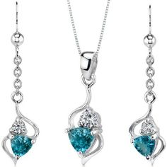 Classy 1.75 carats Trillion Cut Sterling Silver Rhodium Finish London Blue Topaz Pendant Earrings Set Peora. $59.99. Save 57%!