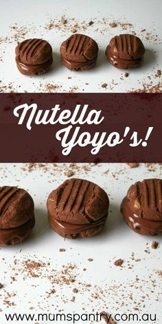 These Nutella Yoyo Biscuits are an upgraded version to the normal Yoyos . anything with Nutella is upgraded in our books! Delicious Cookie Recipes, Nutella Recipes, Baking Recipes, Sweet Recipes, Cake Recipes, Dessert Recipes, Desserts, Nutella Snacks, Nutella Slice