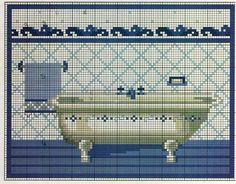 Un esquema sencillito, para que le deis a los baños de casa un agradable toque personalizado en tonos azules.