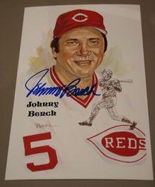 Johnny Bench Autographed Perez-Steele Art Postcard | Sports ...