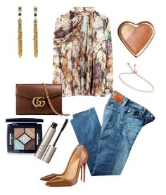 """""""Brownie Denim"""" by arlecia1988 ❤ liked on Polyvore featuring Christopher Kane, AG Adriano Goldschmied, Alexis Bittar, Christian Louboutin, Gucci, Monica Vinader, Christian Dior, Ilia and Too Faced Cosmetics"""