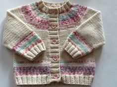 Baby girl cream and pink cardigan with fairisle