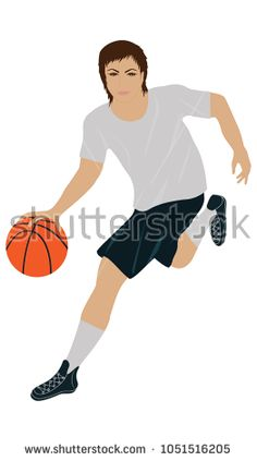 Basketball player with a ball, in sports form - isolated on white background - art vector.