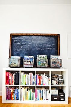 dens/libraries/offices - Ikea Expedit Bookcase chalkboard vintage wire baskets black media boxes magazines glass canisters  Ikea Expedit Bookcase