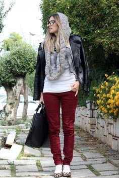 Fall fashion idea. Love the red pant.