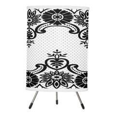 """ Vintage Boudoir Lace"" Black & White_Lamps Tripod Lamp"