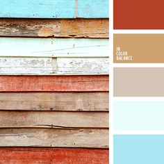 The palette consisting of lighter shades, with an emphasis on the brick color. Brick color is very warm, and rich beige background becomes more bright and pleasant. The composition is created from these shades that resemble the style of the country. It is for home design in country style, the composition will be appropriate best.