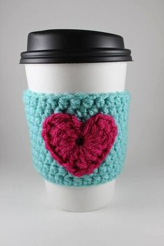 Teal and Pink Heart Crochet Cup Cozy Sleeve  by HandmadeReverie, $10.00