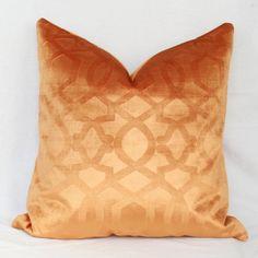 Orange velvet lattice pillow
