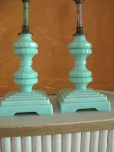 Stunning Pair Art Deco Jadeite Table Lamps