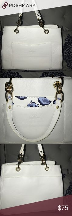 Giani Bernini White Purse I bought this bag for $120 a few months ago and used it maybe once.  It's a great bag, but I never use it!  Comes with detachable longer strap and mini cosmetic pouch seen in second picture. Giani Bernini Bags Shoulder Bags