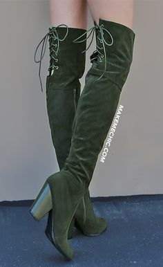Suede Tie Up Over the Knee Boots OLIVE