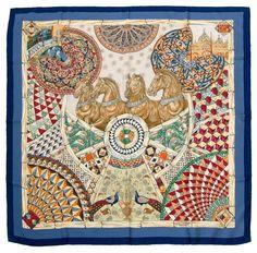 49c3a3d682 Trophees de Venise by Julia Abadie Hermès Silk Scarf  Shades of Blue