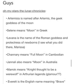"Kai means ""victory"" in Mandarin, Ze'ev means ""wolf"" in Hebrew, Carswell means ""waterCRESS"", Torin means ""chief"", Garan means ""guardian (!!!)"", Maha means ""resembling the moon"" in Arabic, Sage means ""wise one"", Darnel means ""hiding place"", Dmitri means ""Earth-lover"" and Ran means ""wolf"" in Norse (also ""orchid"" in Japanese but I don't think that was the intended meaning haha)"