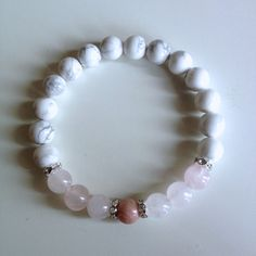 Healing Anger ~ Genuine Rose Quartz, White Howlite & Rhodonite Bracelet w/ Swarovski Crystal Spacers on Etsy, $25.00