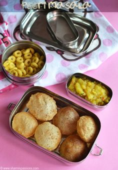 Mini Poori and Potato Masala - Kids Lunchbox Recipes - Sharmis Passions Lunch Recipes Indian, Indian Lunch Box, Lunch Box Recipes, Baby Food Recipes, Breakfast Recipes, Lunchbox Ideas, Healthy School Snacks, Healthy Toddler Snacks, Lunch Snacks