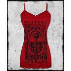 SE7EN DEADLY HEAVENS SINNERS CAMI TOP CRIMSON RED ❤ liked on Polyvore